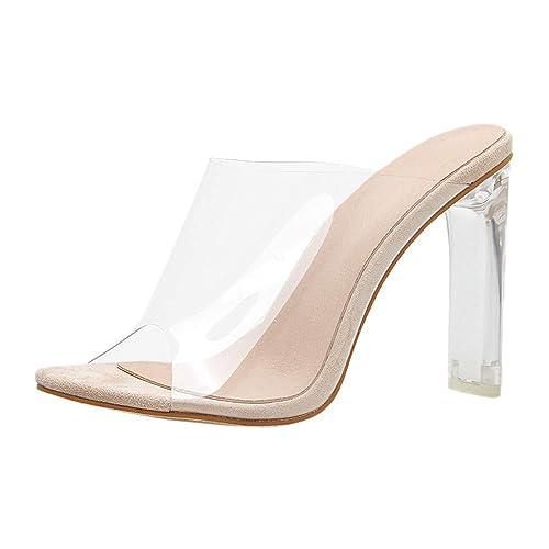 Scarpe con Tacco Donna Eleganti 🎀 Nuovo Trasparente Sandali alla Caviglia  Donna Punta Aperta - Semplice ff886ad817a