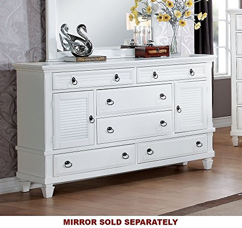 ACME Merivale White Dresser - With six drawers & two doors Full extension drawer Felt lined Top drawer - dressers-bedroom-furniture, bedroom-furniture, bedroom - 51r4Pjtir L -