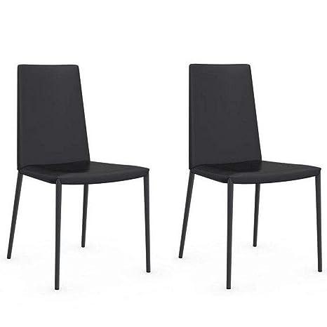 Inside - Juego de 2 sillas Italiana Boheme Piel económica ...