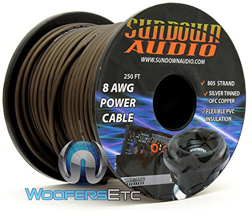 805 Strand Black - Sundown Audio 250Ft 8 AWG Power Cable by Sundown Audio