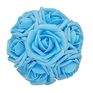 50pcs Artificial Flower,Real Touch Artificial Foam Roses Decoration DIY Wedding Bridesmaid Bridal Bouquet Centerpieces Party 36