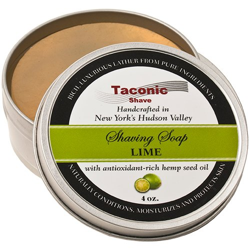 Taconic Shave Barbershop Quality Lime Shaving Soap with Antioxidant-Rich Hemp Seed Oil (Shaving Shop)