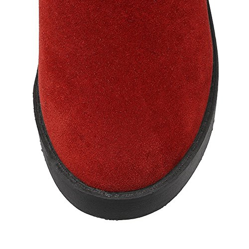 AllhqFashion Mujeres Caña Alta Sólido Cordones Puntera Redonda Tacón Medio Botas Rojo