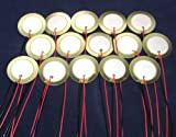 """15 Pieces - 27mm Piezo Disc Elements with 4"""" Leads - Acoustic Pickup Cigar Box Guitar CBG"""