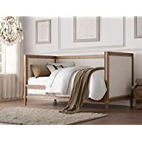 ACME Furniture 39175 Charlton Daybed, Twin, Cream Linen & Salvage Oak