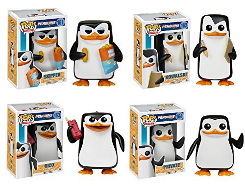 Funko POP! Movies: Penguins of Madagascar Vinyl Figure Set of 4 - Rico, Skipper, Private & Kowalski by Pop! Movies