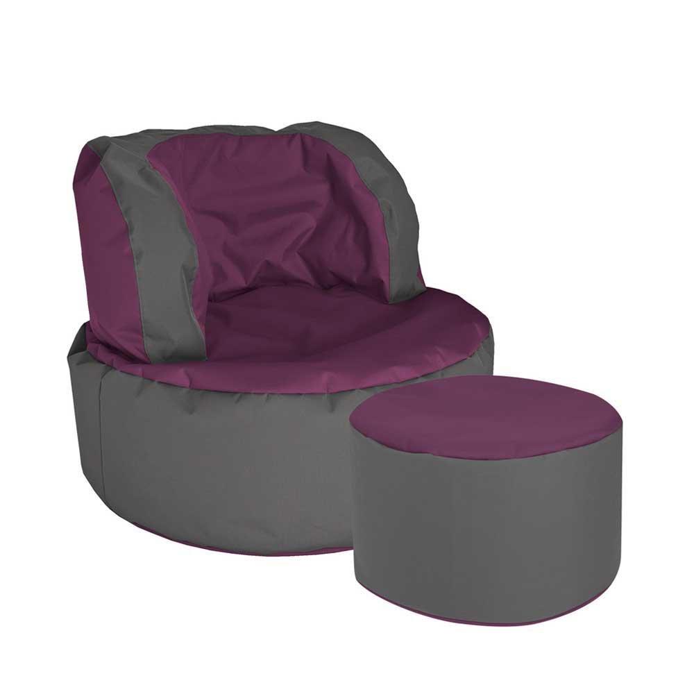 Pharao24 Sitzsack Sessel in Violett Grau Tiefe 135 cm mit Fußhocker Ja