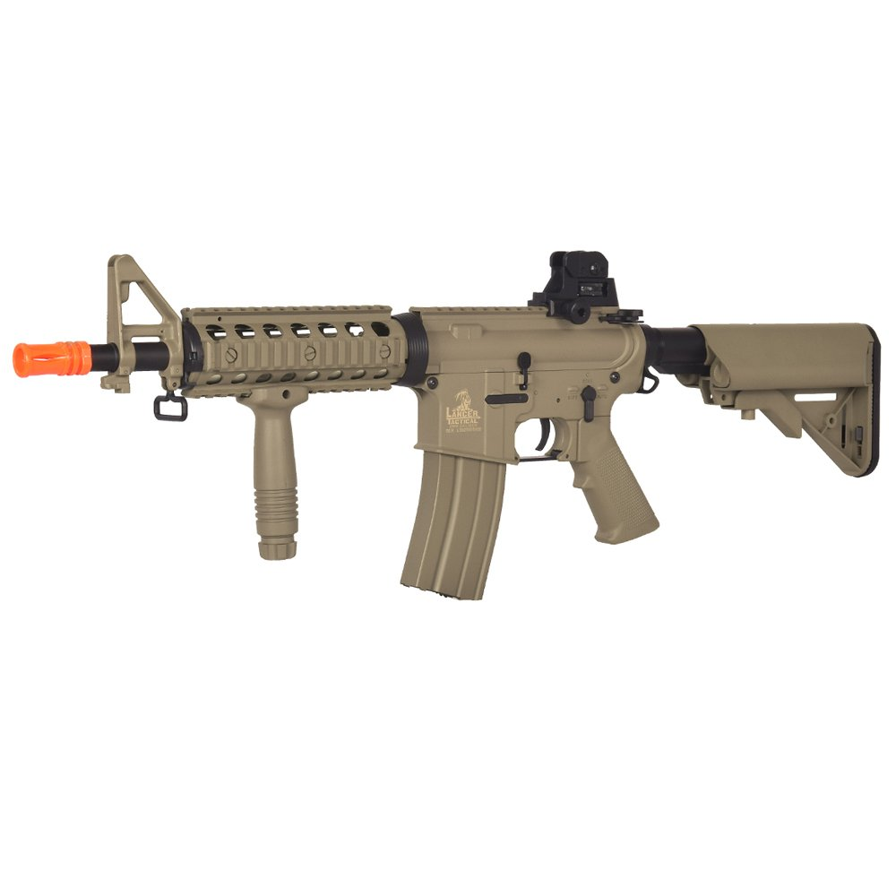 Lancer Tactical LT-02T M4 CQBR Metal Gear AEG, Adjustable Stock, Tan by Lancer Tactical