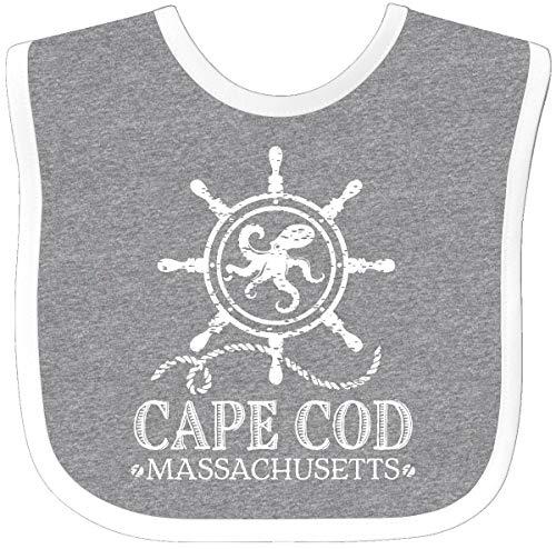 Inktastic Cape Cod Massachusetts Nautical Baby Bib Heather/White