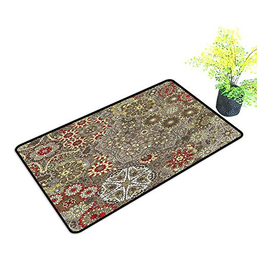 - Door mats for Outside Entry Batik,Indonesian Paisley Forms Print Multicolor,H23xW35 inch