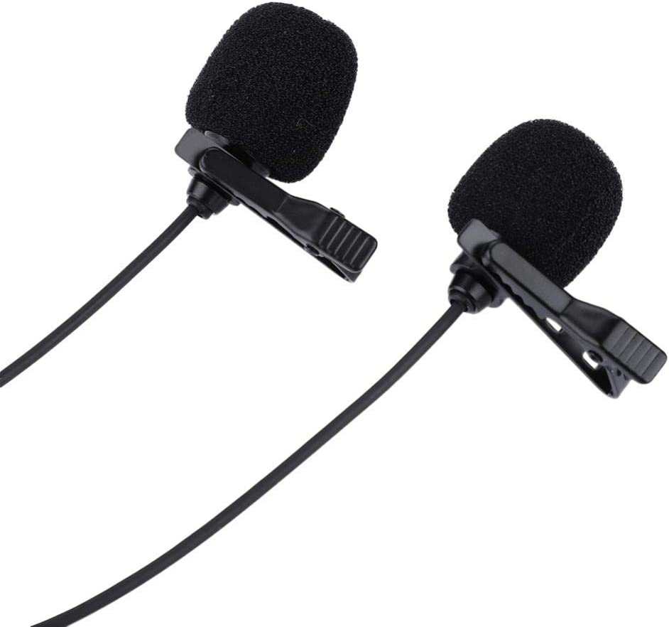 Dual-Head 3.5mm Lavalier Lapel Omnidirectional Condenser Microphone for Recording Interview//Video Conference//Podcast//Voice Dictation//Phone ASHATA Clip on Microphone