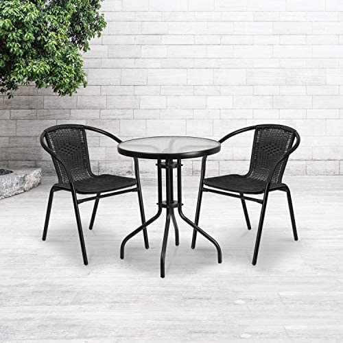 Flash Furniture 23.75 Round Glass Metal Table