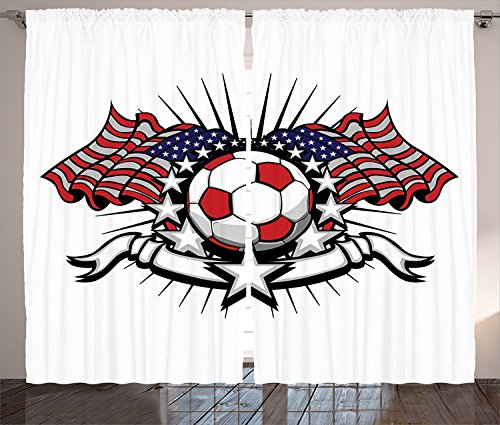 Sports Decor Collection Stars and Stripes Patriotic American Soccer with American Flags Design Print Living Room Bedroom Curtain 2 Panels Set Navy Red Black White by sophiehome