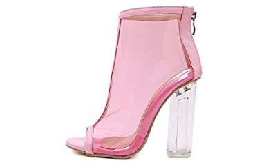 2e57678077 Womens Peep Toe Lace up Clear Lucite Chunky High Heel Ankle Booties Boot  Shoe(Pink