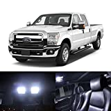 Partsam 2005-2012 Ford F-250 F-350 F-450 White Interior LED Light Package Kit (8 Pieces)
