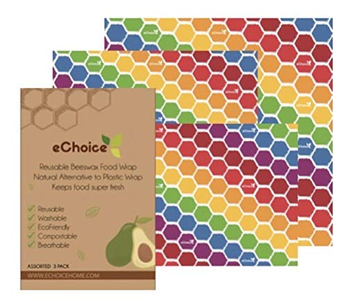 Organic Reusable Beeswax Food Wrap   Pack of 3 in 3 sizes   Sustainable Food Storage   Great for Vegetables and Sandwiches   Bees Paper Wrap