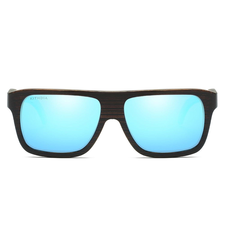 KITHDIA Polarisierte Herren Brand Spiegel Eyewear Hölzerne Bambus Sonnenbrille T1Nr20KXuo