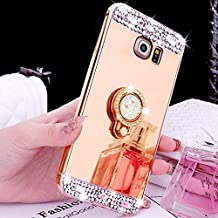 For Samsung S6 Edge Mirror Case, Funyye Luxurious Soft TPU Silicone Rose Gold Plating Glossy Glitter Crystal Rhinestone Frame with Diamond Ring Make Up Mirror for Samsung S6 Edge-Gold