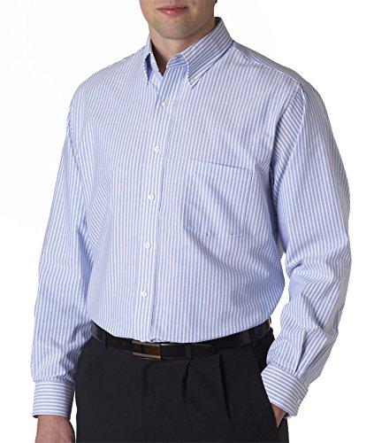 57800 Van (57800 Van Heusen Men's Classic Long-Sleeve Oxford (Blue_White Stripe) (L))