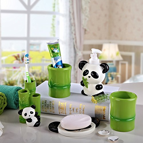 Panda Bear Bathroom Accessory Set Pen Pencil Holder for Office Deck Decor Hand Made & Hand Painted Resin 5 Pieces Set Collection Gift with Sanitary Ware - Christmas Presents Gifts - Piece 5 Resin