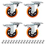 """4"""" Swivel Caster Wheels Set of 4 with Screw Safety Dual Locking and Polyurethane Foam No Noise Wheels,Heavy Duty-450 Lbs Per Caster"""