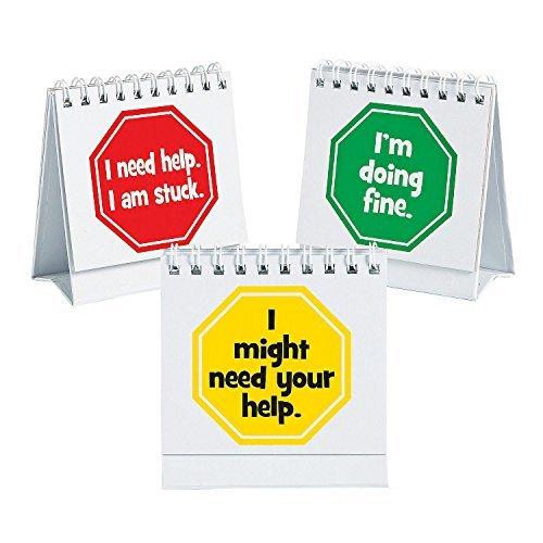 Fun Express I Need Help Student Mini Flip Classroom Desk Signs - 12 - Flip Charts Mini