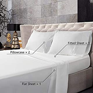 BedStory Bed Sheets Set, Luxury Hotel Quality 4-Piece Beding Sheets Set with 15 Inch Deep Pockets, Hypoallergenic Super Soft Bedding Sheets-Wrinkle/Fade/Stain Resistant