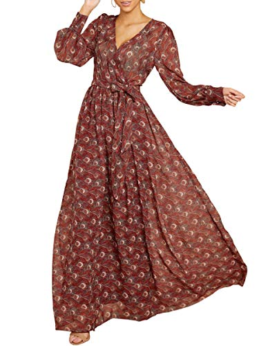 - Chuanqi Womens Sexy V Neck Long Sleeve High Waisted Chiffon Floral Long Maxi Dress with Belt Brown