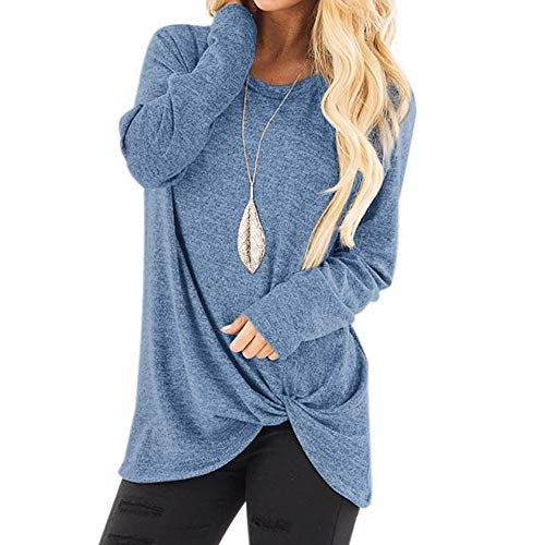 (2018 Clearance Sale,WUAI Womens Casual Shirts Long Sleeve O-neck Loose Fit Fashion Solid Running Athletic Tops(Light Blue,Size L))