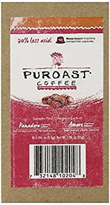 Puroast Coffee Espresso Capsule Sampler, Amore and Panadero Blend, 10 Count