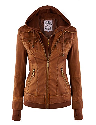 Made By Johnny MBJ WJC664 Womens Faux Leather Jacket with Hoodie L Camel