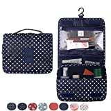 Itraveller Portable Hanging Toiletry Bag/ Portable Travel Organizer Cosmetic Bag for Women Makeup or Men Shaving Kit with Hanging Hook for vacation (Navy Circle)