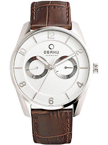 Obaku Denmark Men's Multifunction Analog Watch Brown Leather Band V171GMCIRN