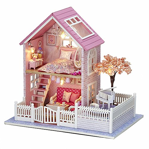 Flever Dollhouse Miniature DIY House Kit Creative Room With Furniture for Romantic Gift(Pink Blossom of Sakura)