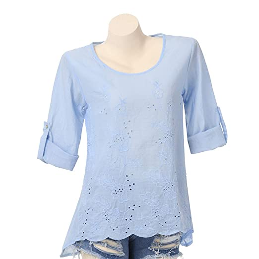 9ff7b08a Minisoya Plus Size Women Long Sleeve Retro Casual Loose Button Tunic Tops  Embroidered Blouse Hollow Out