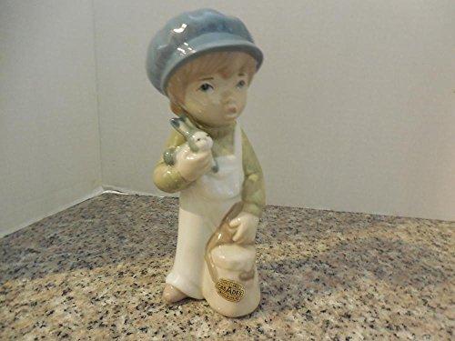 (Casades Porcelain Cute Boy Holding Rabbit Spain Labels)