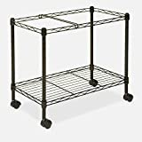Rolling File Carts With Wheels Organizer Rails Open Rolling Metal Mobile Large Home Storage Laundry Office Tall & eBook by MSS