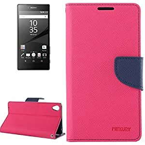 Cross Texture Leather Case with Holder & Card Slots & Wallet for Sony Xperia Z5 Premium (Magenta)