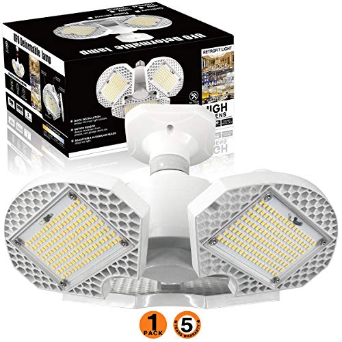 LED Garage Lights,100W LED Garage Ceiling Lights 12500LM Deformable Garage Lighting,LED Shop Light ,LED Shop Lights for Garage, Warehouse, Corridor, Support E26 Screw Socket (No Motion Detection)W 1pk
