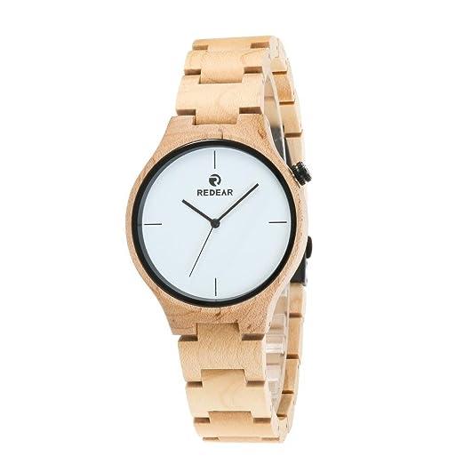 Relojes de madera Reloj de madera hecho a mano para mujer con reloj de cuarzo con pantalla analógica de banda ajustable: Amazon.es: Relojes