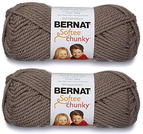 2-Pack - Bernat Softee Chunky Yarn, Taupe Grey, Single Ball