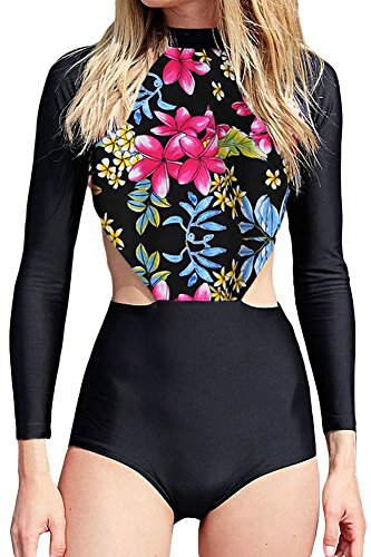 Shawhuwa Womens Floral Long Sleeve Surfing One Piece Swimsuit X-Large Red Flowery
