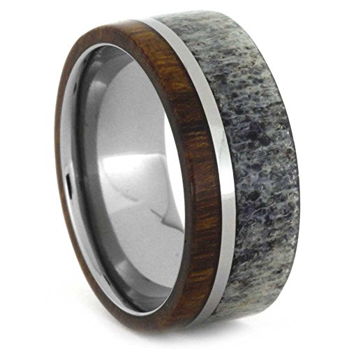 Ironwood and Deer Antler 8mm Comfort-Fit Titanium Band and Sizing Ring, Size, 8.5 by The Men's Jewelry Store (Unisex Jewelry)