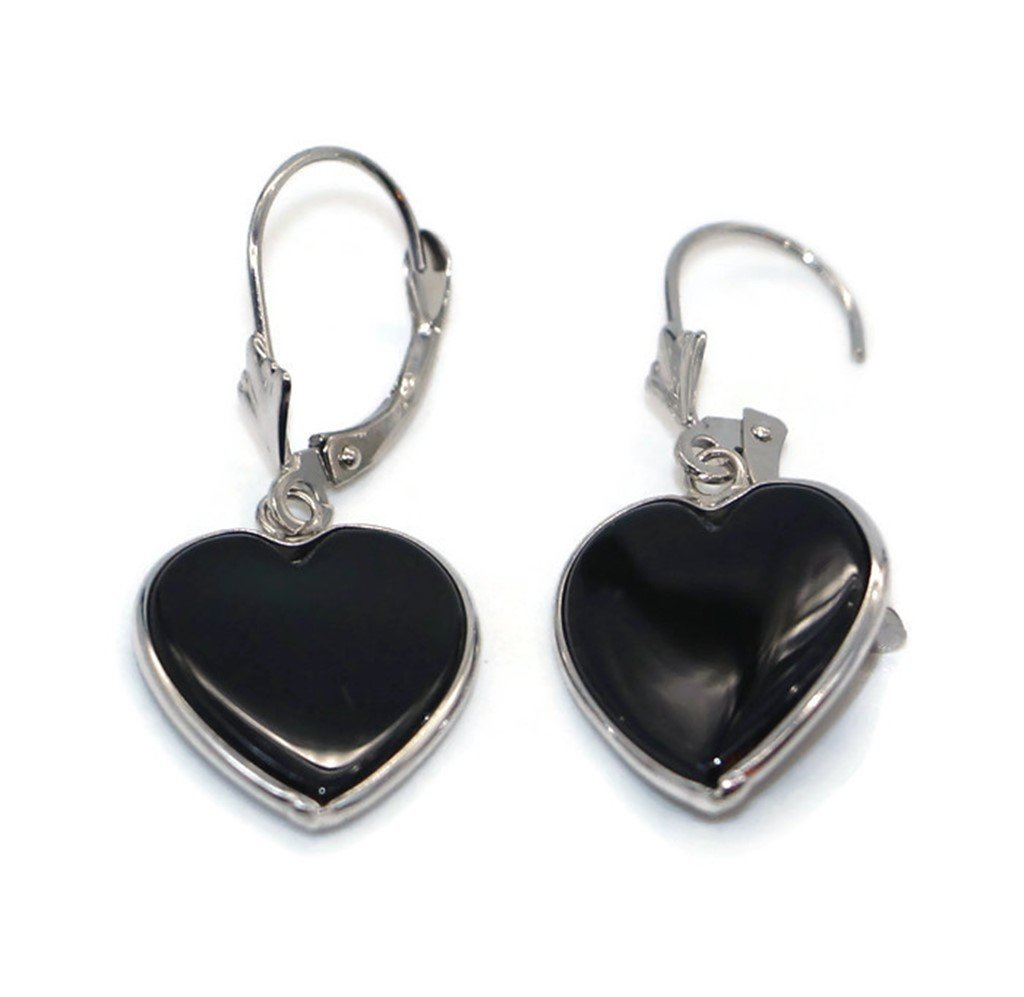 Onyx Black Heart Earrings set in 14K White Gold,Leverbacks by Sophia Fine Jewelry (Image #3)
