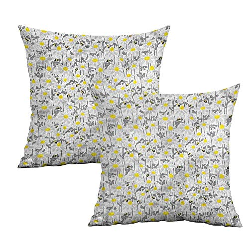 "Khaki home Yellow Square Zippered Pillowcase Bees Chamomile Meadow Square Pillowcase Covers Cushion Cases Pillowcases for Sofa Bedroom Car W 24"" x L 24"" 2 pcs"