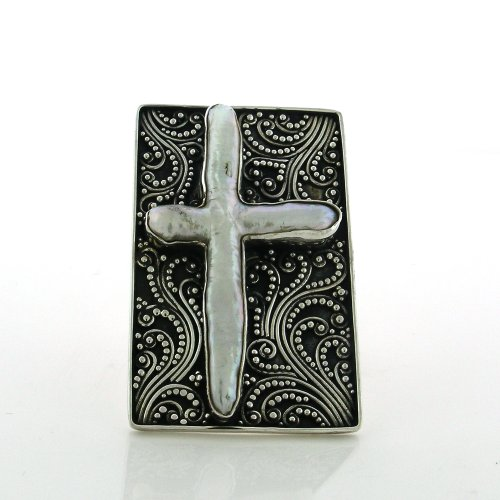 Sterling Silver Adjustable Biwa Pearl Cross Handmade Cocktail Ring with Balinese (Biwa Cross)