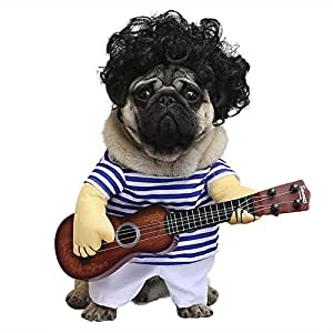 Cleana Arts - Disfraz de perro, para mascotas, estilo de guitarra, gato,