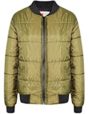 Kids Jacket Boys Girls Bomber Padded Quilted Zip Up Biker Jackets MA1 Coat 5-13Y