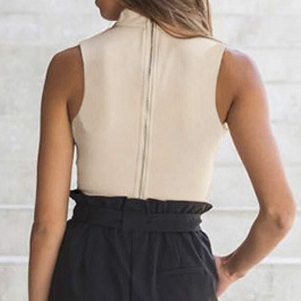 Witspace Fashion Women V-Neck Halter Sleeveless Casual Zipper Short Tops Tank T-Shirt