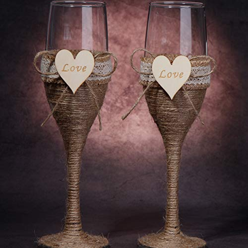 Wedding Champagne Flutes Set of 2 Toast Glasses for Bride Groom Rustic Wedding Keepsake, 2019 New Gifts to Mr - Engagement Party Toast